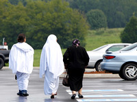 Members of the new Islamic Center in Murfreesboro, Tennessee leave worship on August 10, 2012
