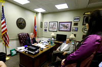 Tennessee State Senator Jim Tracy meets with local Tea Party members Kurt Potter and Mishelle Perkins in his office in Nashville, Tennessee